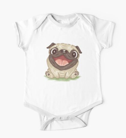 Happy Pug One Piece - Short Sleeve