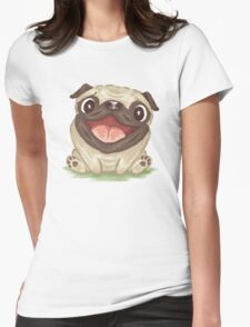 Happy Pug Womens Fitted T-Shirt