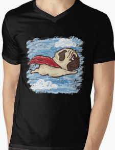 Flying Pug Mens V-Neck T-Shirt