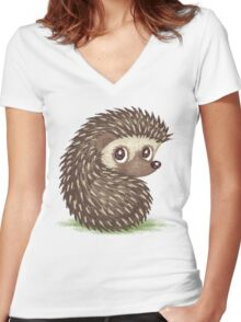 Hedgehog which looks at back Women's Fitted V-Neck T-Shirt