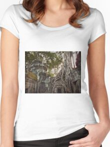 Temples in Angkor Wat, Cambodia Women's Fitted Scoop T-Shirt