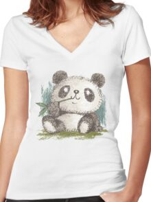 Panda that is eating bamboo Women's Fitted V-Neck T-Shirt