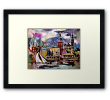 Old Riga City - View from across the Daugava River Framed Print