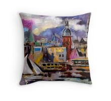 Old Riga City - View from across the Daugava River Throw Pillow