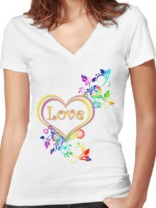 Love in your heart  Women's Fitted V-Neck T-Shirt