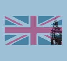 Union Jack and Big Ben, London, UK, Pink and Purple Kids Tee