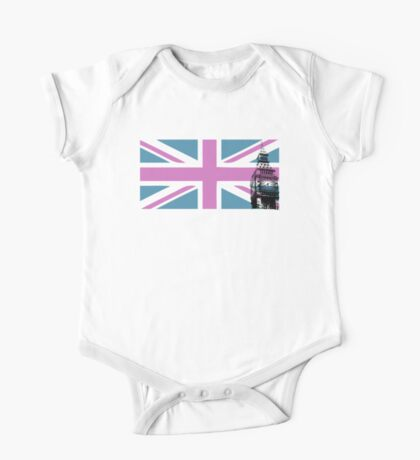 Union Jack and Big Ben, London, UK, Pink and Purple One Piece - Short Sleeve