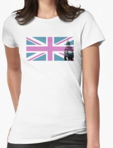 Union Jack and Big Ben, London, UK, Pink and Purple Womens Fitted T-Shirt