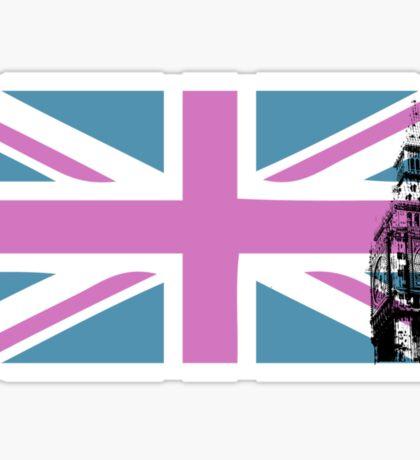 Union Jack and Big Ben, London, UK, Pink and Purple Sticker