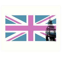 Union Jack and Big Ben, London, UK, Pink and Purple Art Print