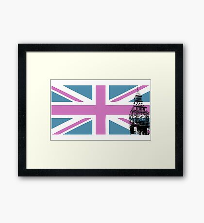 Union Jack and Big Ben, London, UK, Pink and Purple Framed Print