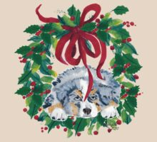 Christmas Puppy ~ T-shirt & Sticker ~ Blue Merle Aussie T-Shirt