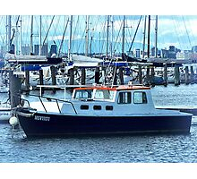 Red Roof - Cabin Cruiser moored at Williamstown, Vic. Photographic Print