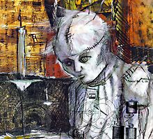 Abstract Gothic doll with stitches - black and white by chrisbradley