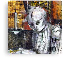 Abstract Gothic doll with stitches - black and white Canvas Print