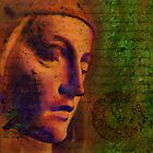 Surreal Gothic Statue against green abstract background by chrisbradley