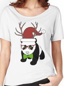 Hipster Christmas Panda Women's Relaxed Fit T-Shirt