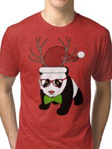 Hipster Christmas Panda Tri-blend T-Shirt