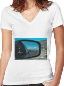 Rearview Landscape Women's Fitted V-Neck T-Shirt