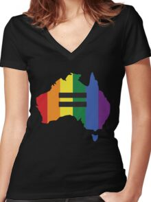 LGBT equality Australia Women's Fitted V-Neck T-Shirt