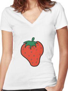 Superfruit Strawberry Merch Women's Fitted V-Neck T-Shirt