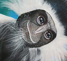 Colobus Monkey (detail 'Jungle Animals' painting) by Selinah Bull