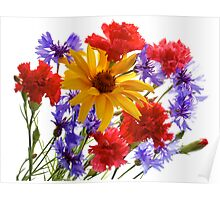 summer flowers: heliopsis, blue cornfolwers and pink carnations Poster