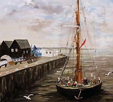 The 'Greta' Kent Barge Entering Whitstable Harbour by Juanita Newton
