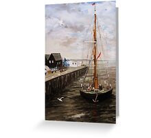 The 'Greta' Kent Barge Entering Whitstable Harbour Greeting Card