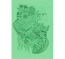 Green doodle Photographic Print
