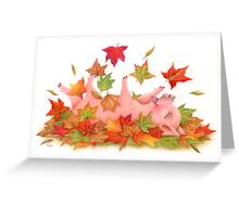 Little Pig's Bliss - Rolling In The leaves Greeting Card
