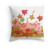 Little Pig's Bliss - Rolling In The leaves Throw Pillow