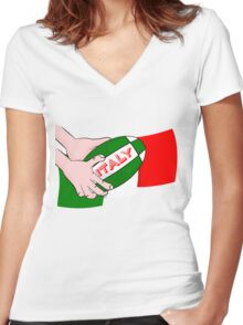 Italy Rugby Ball Flag Women's Fitted V-Neck T-Shirt