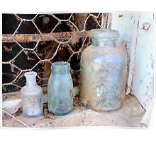 Old bottles on old windowsill. Poster