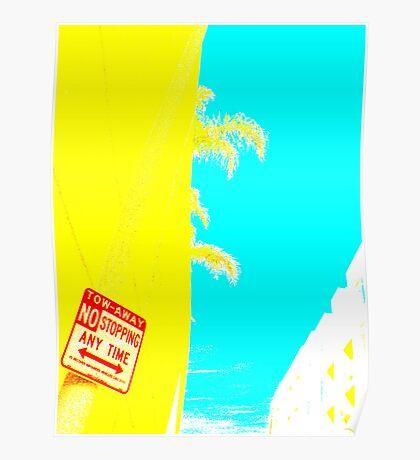 yellow palm pop art demo  Poster