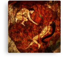 Adam, Eve and The Forbidden Strawberry Canvas Print