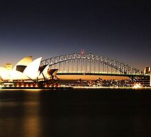 Sydney Harbour Bridge and Opera House at Dusk by blackadder