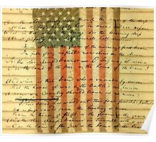 American Flag and Lyrics to Star Spangled Banner Poster