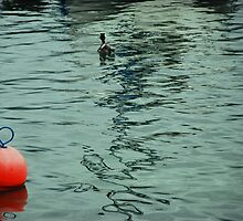 Red Buoy Guides Ducks Path by nadinecreates
