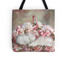 Easter Surprise - Bunnies And Roses Tote Bag