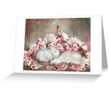 Easter Surprise - Bunnies And Roses Greeting Card