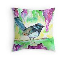 Wren in the Wisteria Throw Pillow