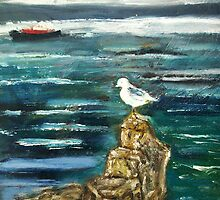 Seagull on Rock by stevephillips
