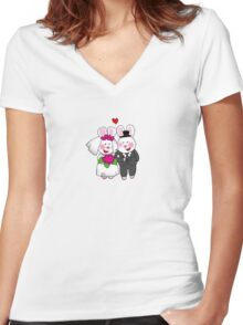 Cute bunny bride & groom wedding couple Women's Fitted V-Neck T-Shirt