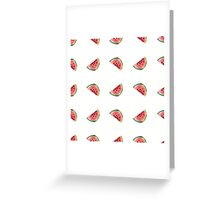 seamless pattern made of scattered decorative watermelon watercolor Greeting Card