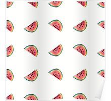 seamless pattern made of scattered decorative watermelon watercolor Poster