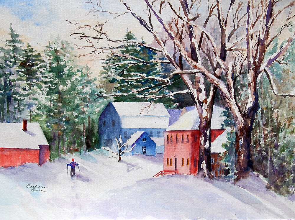 Snowshoeing in Strawberry Banke by Barbara  Borsa