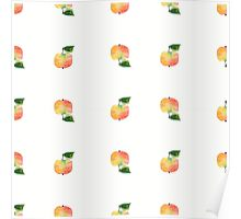 seamless watercolor pattern made of scattered decorative apples Poster