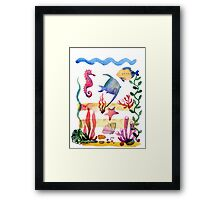 Set of different sea shells,corals and starfish. Watercolor illustration. Global color used. Framed Print