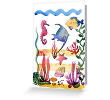 Set of different sea shells,corals and starfish. Watercolor illustration. Global color used. Greeting Card